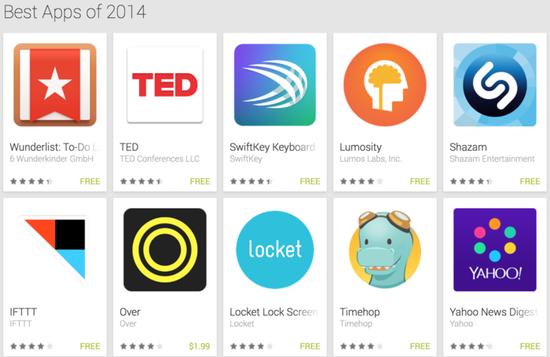 谷歌评出64款2014年最佳应用:Uber等上榜