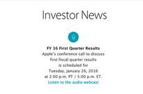 iPhone 6s一季度或减产约30% 26日发布财报