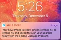 苹果Apple Store向用户推送广告消息:促销iPhone XS/XR
