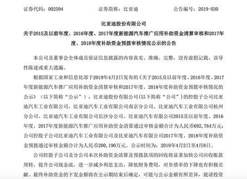 比亚迪过去两年补助资金预拨通过审核金额为20亿元_副本