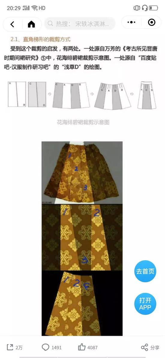 由微博博主无劫缘整理总结的《唐代裙装的制作与变化报告》