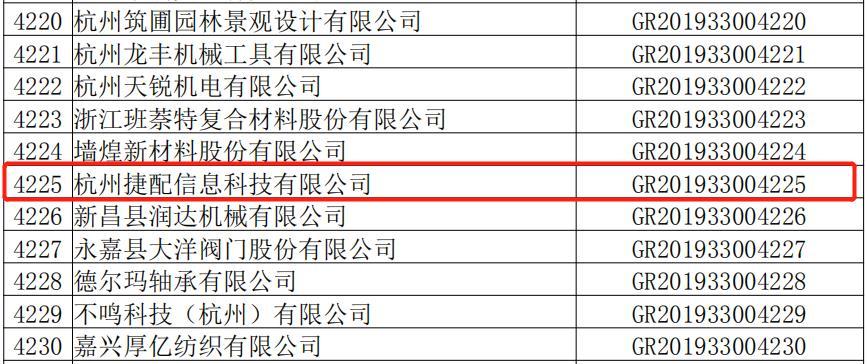 捷配科技入选浙江省 2019 年高新技术企业名单