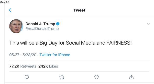 """特朗普签署行政命令:报复推特""""打标签""""行为"""