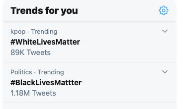 """""""白人命也是命"""" 与""""黑人命也是命""""同为Twitter上的热门话题"""