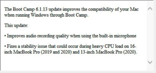 Boot Camp更新发布的说明