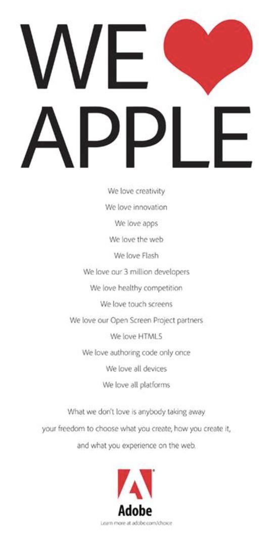 """△当年Adobe用了""""We Love Flash,We Love Apple""""煽情的公关方式来应对,但是并没有什么用"""