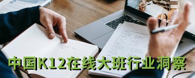 艾瑞微课堂 | 中国K12在线大班行业洞察